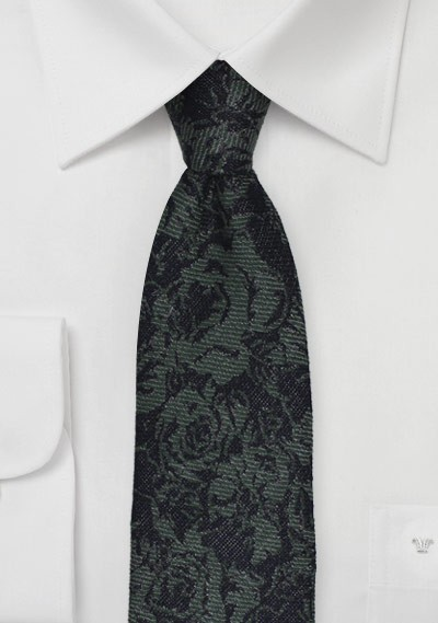 Skinny Winter Wool Tie in Forest Green