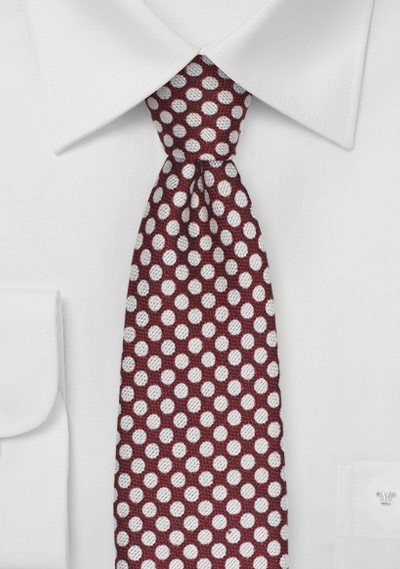 Crimson Red Polka Dot Tie in Silk and Wool