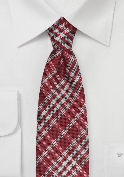 Plaid Tie in Crimson Red and Silver