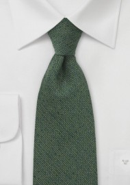 XL Length Tie in Olive Green with Texture