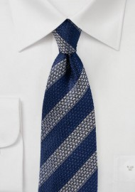 Vintage Striped Silk Tie in Navy and Silver