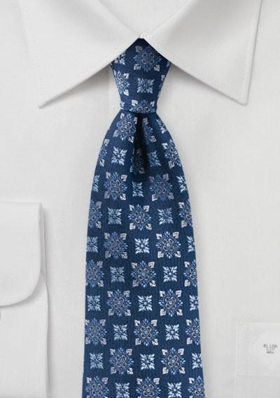 Designer Medallion Tie in Navy and Silver