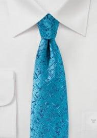 Bright Turquoise Geometric Print Designer Tie