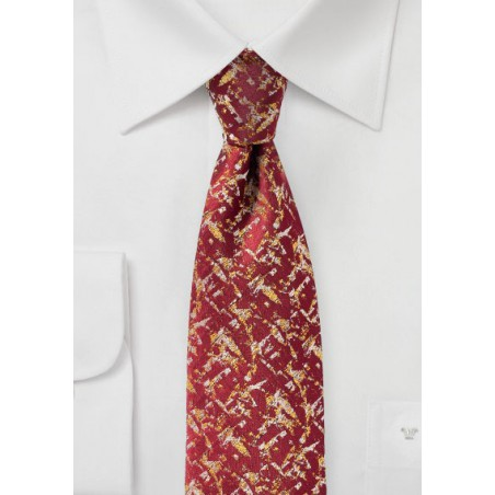 Cherry Red and Gold Designer Mens Tie