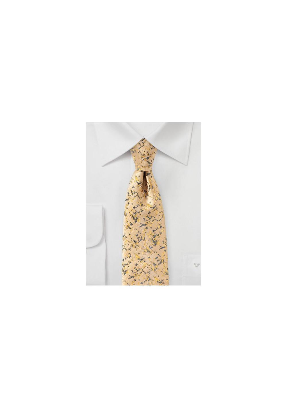 Golden Yellow and Gray Designer Tie