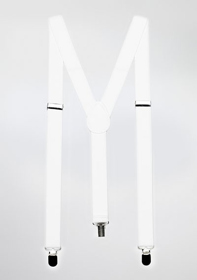 Bright White Elastic Suspenders