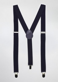 Elastic Band Suspenders in Classic Navy