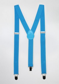 Mens Suspenders in Cyan Blue