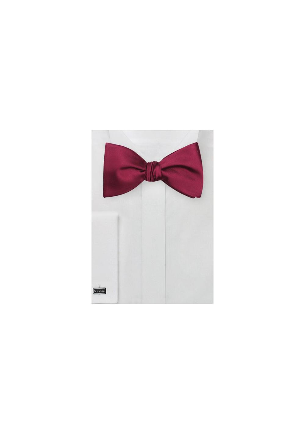 Elegant Solid Burgundy Self-Tie Bow Tie