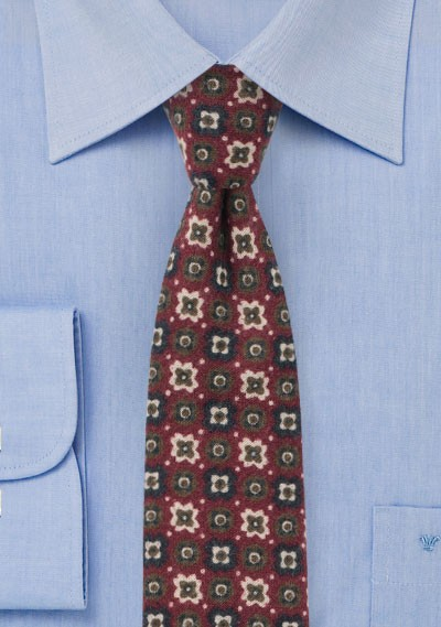 Burgundy Flannel Tie with Retro Print