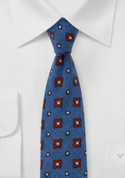 Flannel Medallion Print Tie in Indigo