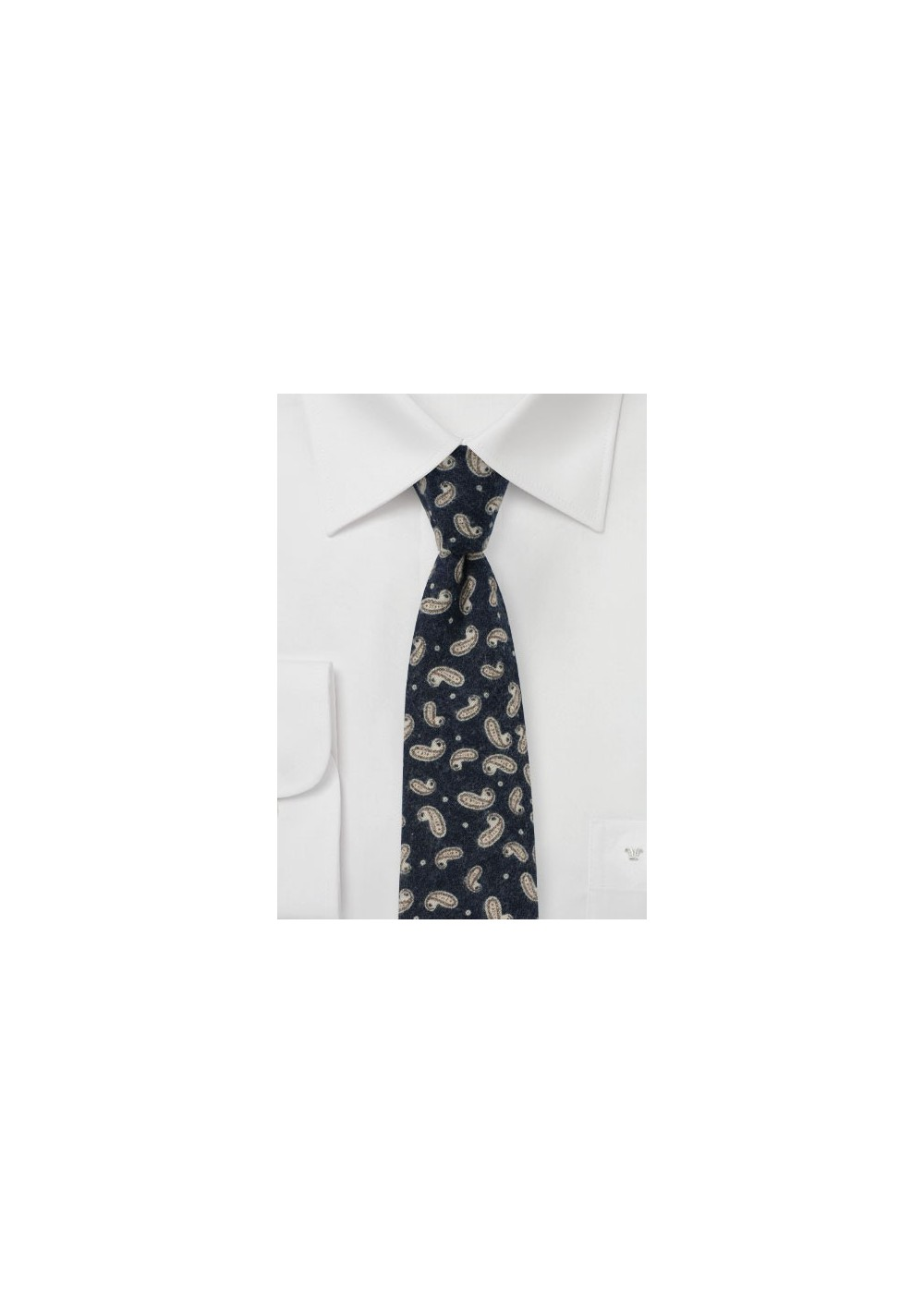 Flannel Cotton Print Tie in Navy with Paisley Design