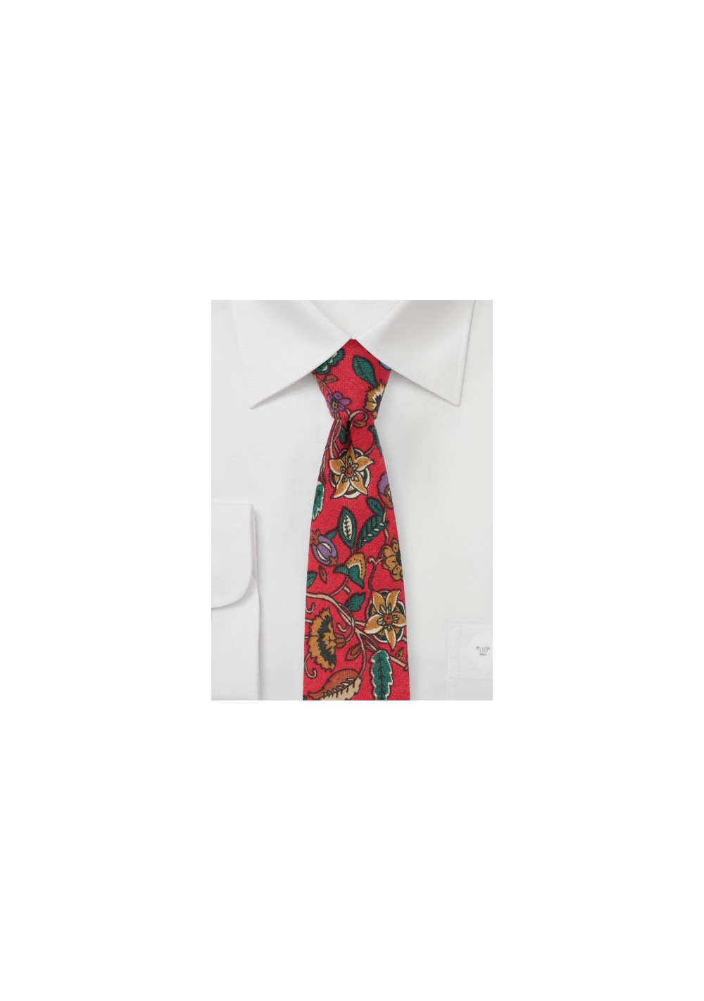 Bold Red and Green Floral Tie
