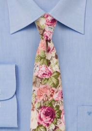 Dusty Rose Floral Tie in Cotton