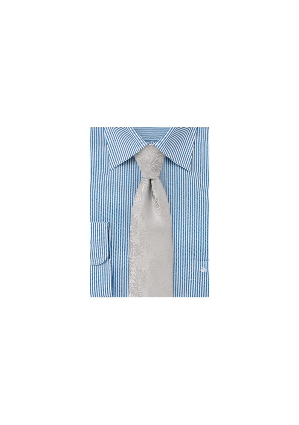 Solid Tie in Silver with Tropical Leaf Design