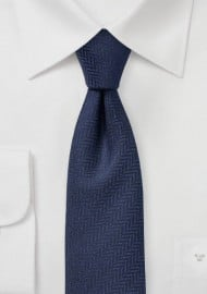 Navy Herringbone Texture Tie in Skinny Cut