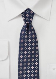 Checkered Flora Tie in Navy and Pink