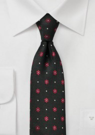 Black and Red Woven Floral Tie