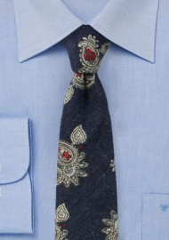 Dark Navy, White, and Red Paisley Flannel Tie