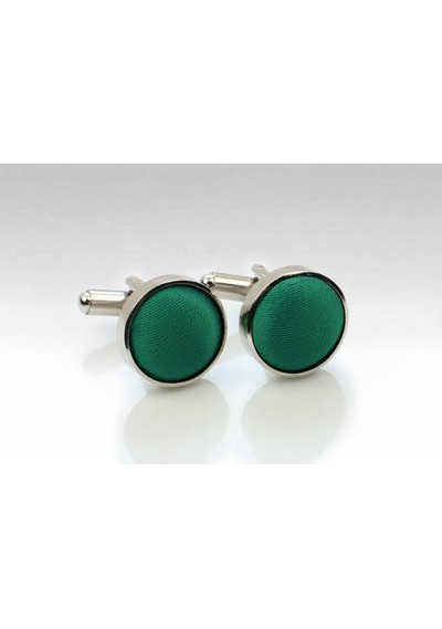 Hunter Green Fabric Covered Cufflinks