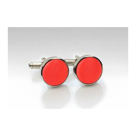 Fabric Covered Cufflinks in Neon Coral