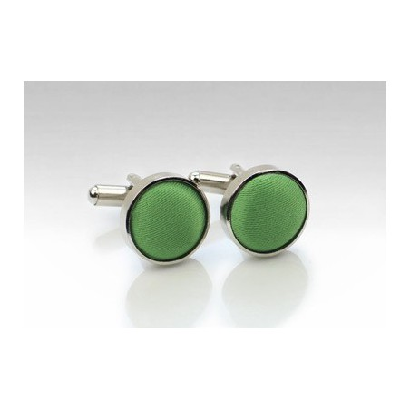 Clover Green Fabric Covered Cufflinks