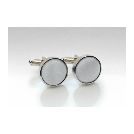 Fabric Covered Cufflinks in Light Silver