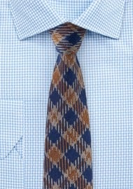 Vintage Plaid Wool Tie in Brown and Navy