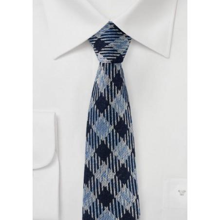 Blue Plaid Winter Wool Tie