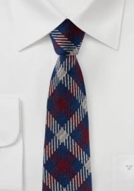 Plaid Slim Cut Wool and Silk Blend Designer Tie