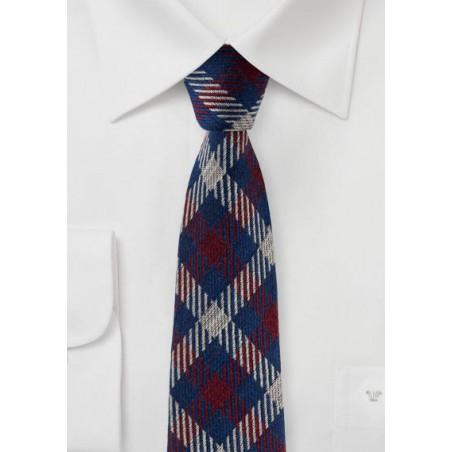 Plaid Slim Cut Wool and Silk Blend Designer Tie