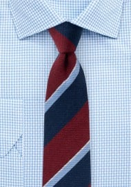 Preppy Autumn Wool Striped Skinny Tie