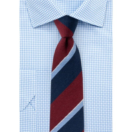 Preppy Autumn Wool Striped Skinny Tie