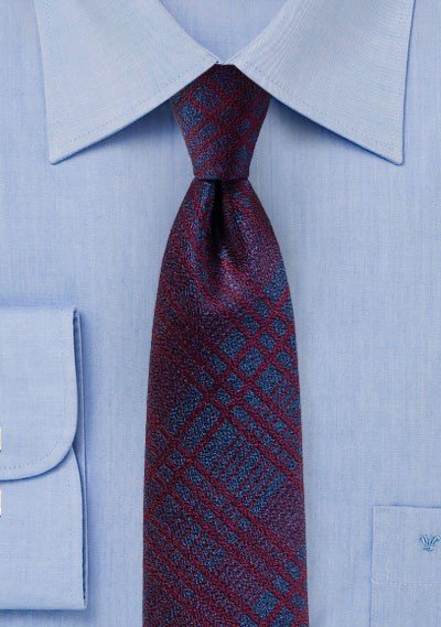 Purple and Burgundy Plaid Skinny Tie
