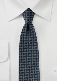 Gray and Navy Mini Check Tie