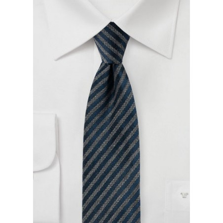 Modern Striped Tie in Navy and Gray