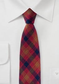 Vintage Plaid Tie in Red, Copper, and Purple
