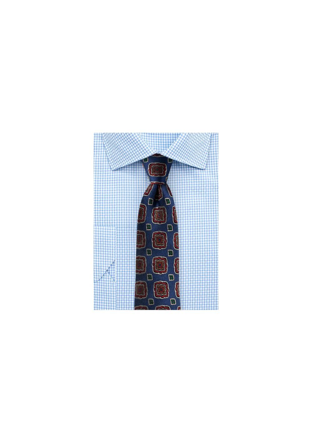 Retro Medallion Silk Tie in Slim Cut