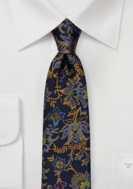 Dark Navy Silk Skinny Tie with Woven Florals in Gold