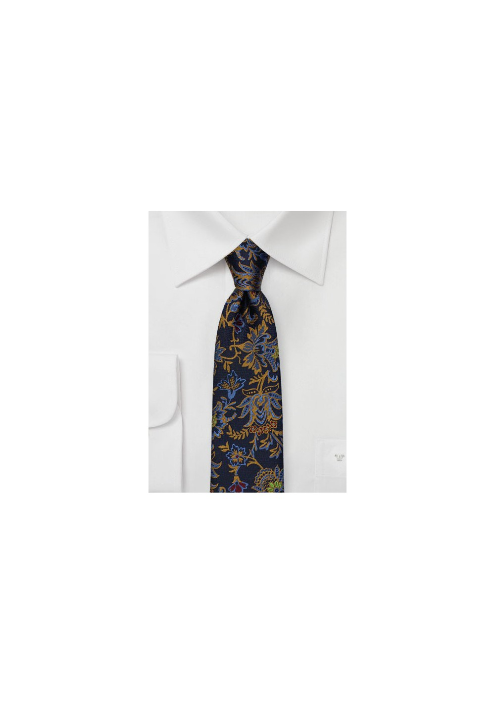 Dark Navy Silk Skinny Tie with Woven Florals in Gold