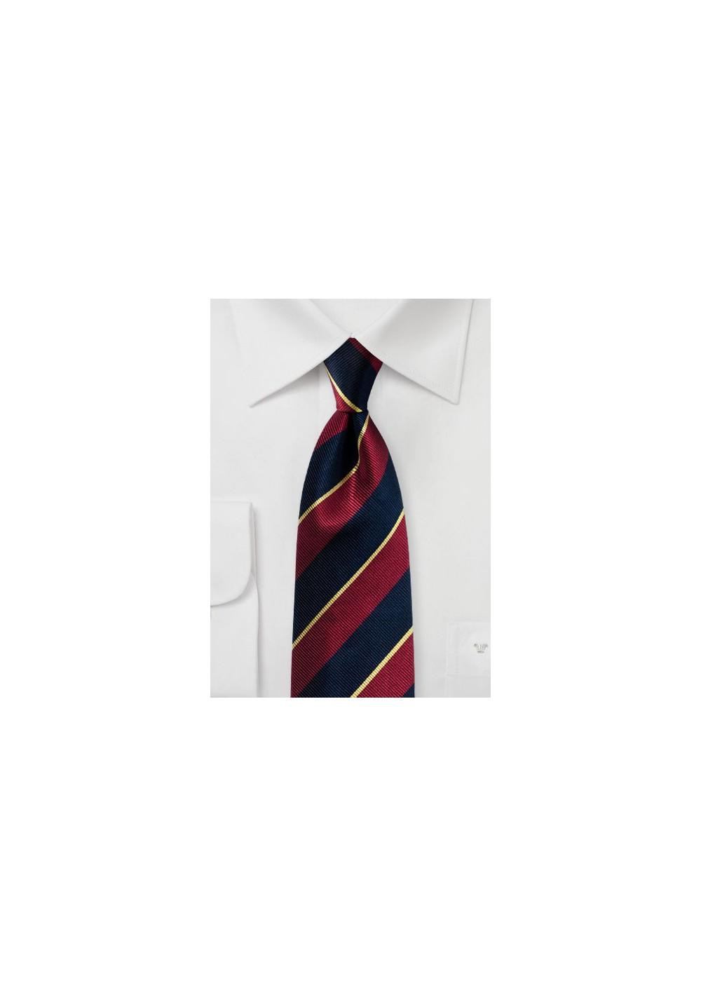 Classic Regimental Striped Tie in Navy, Burgundy, Gold