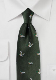 Flying Mallard Ducks in Dark Forest Green