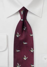 Flying Ducks Silk Tie in Ruby Red