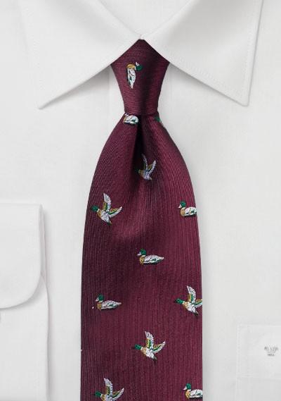 Flying Ducks Silk Tie in Ruby Red