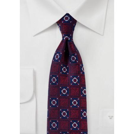 Dark Cherry Red and Navy Medallion Weave Tie