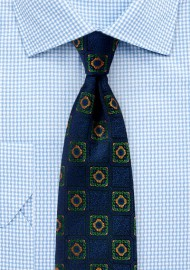 Bold Medallions in Orange and Green on Navy