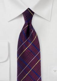 Glen Check Tie in Dark Burgundy