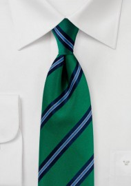 Matte Woven Striped Tie in Kelly Green