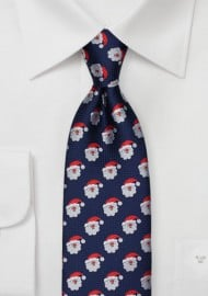 Dark Navy Tie with Embroidered Santas