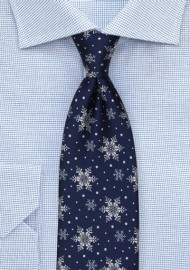 Navy Tie with Silver Snowflakes